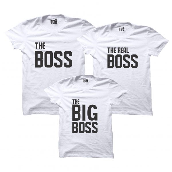 THE BOSS FAMILY WHITE T-SHIRT- MATCHING FAMILY T-SHIRT