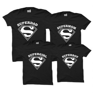 THE SUPER MOM DAD ROUND NECK BLACK FAMILY T-SHIRT